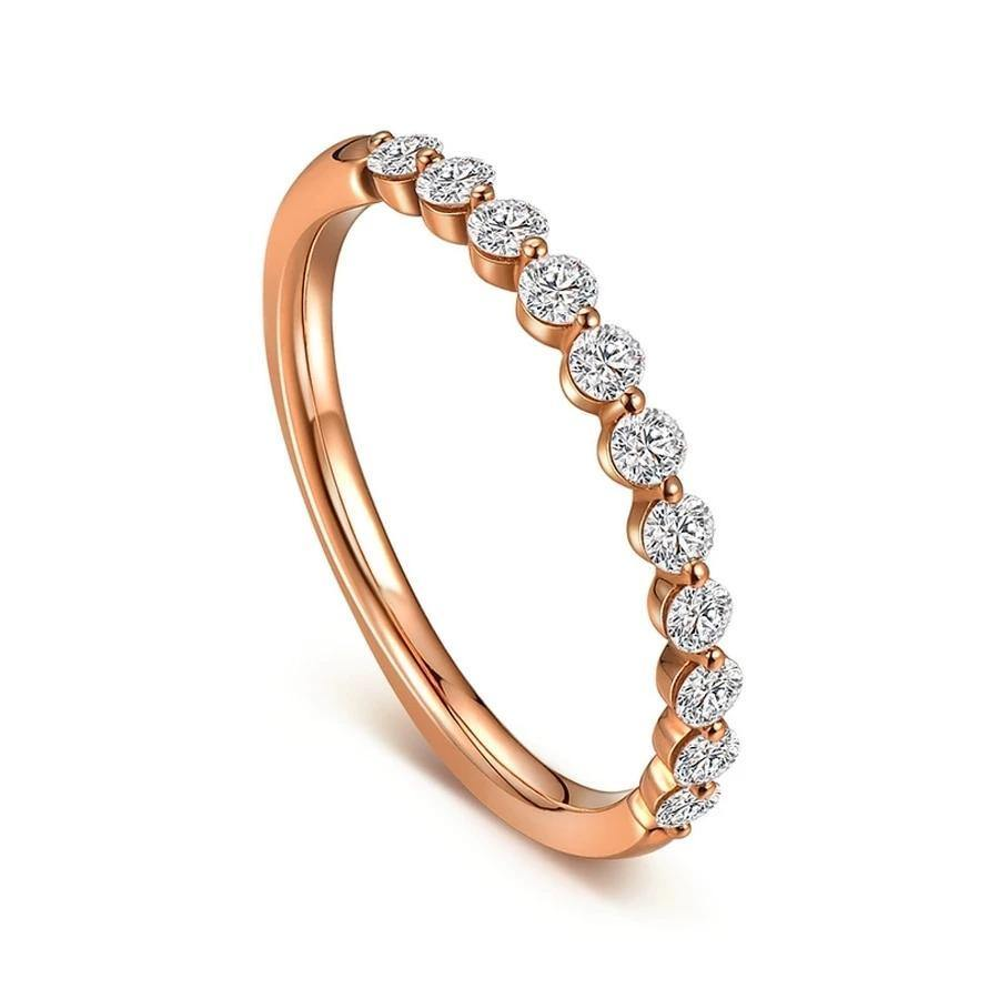 0.42ctw Diamonds Band Solid 14k Rose Gold Women's Jewelry Natural Diamond Elegant Cluster Engagement & Wedding Fine Ring Band - jewelrycafee