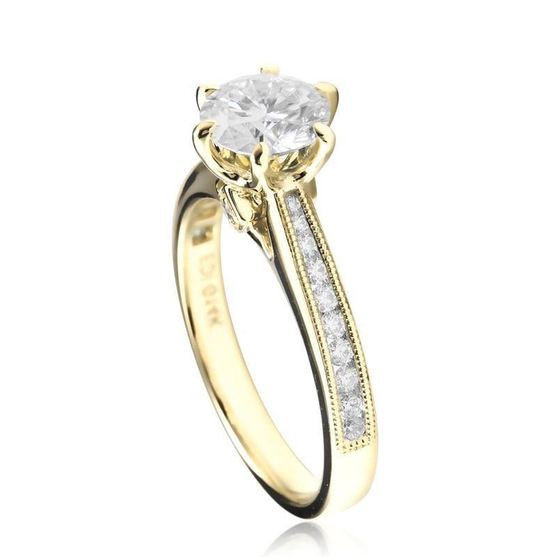 EDI Luxury 14k Yellow White Gold 1ct Round Cut Lab Grown Diamond Engagement Wedding Ring Moissanites Ladies Ring Fine Jewelry - jewelrycafee