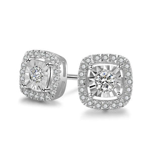 Trendy Solid 14k 585 White Gold 0.29ttw Halo Natural Diamond Wedding Engagement Earrings For Women Fine Jewelry - jewelrycafee