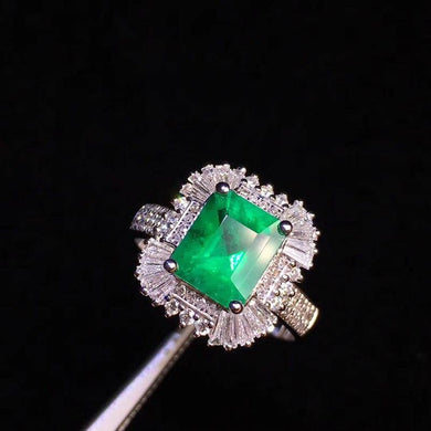 Fine Jewelry Real 18K Yellow Gold 1.52ct Colombia Emerald Ring Natural Diamond for Men and Women Party