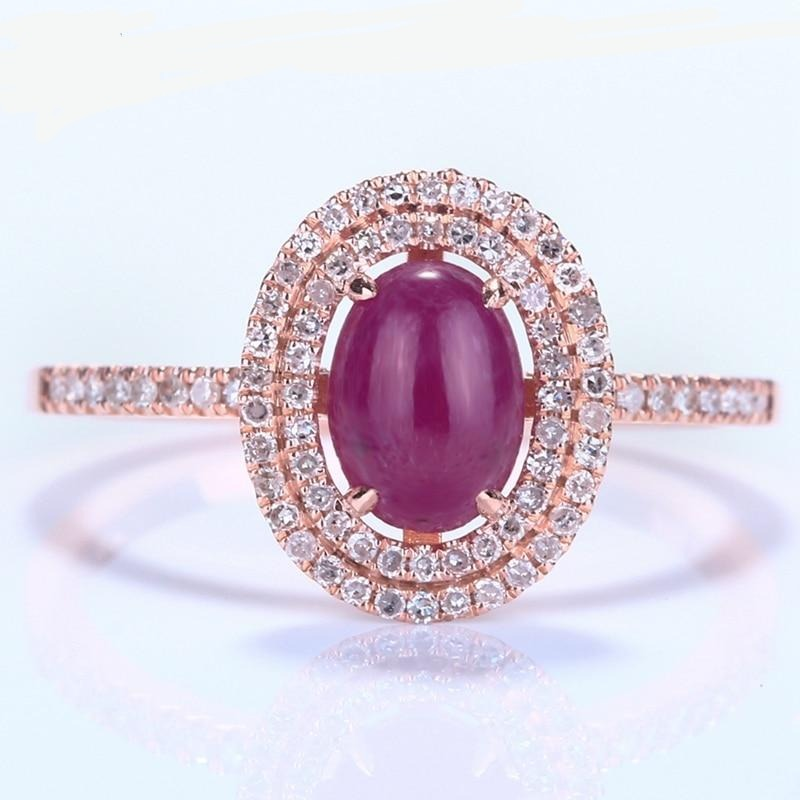 Solid 14K Rose Gold Flawless 7x5mm Oval 1.16ct Ruby Engagement Wedding Natural Diamonds Gemstone Elegant Lady Fine Jewelry Ring - jewelrycafee