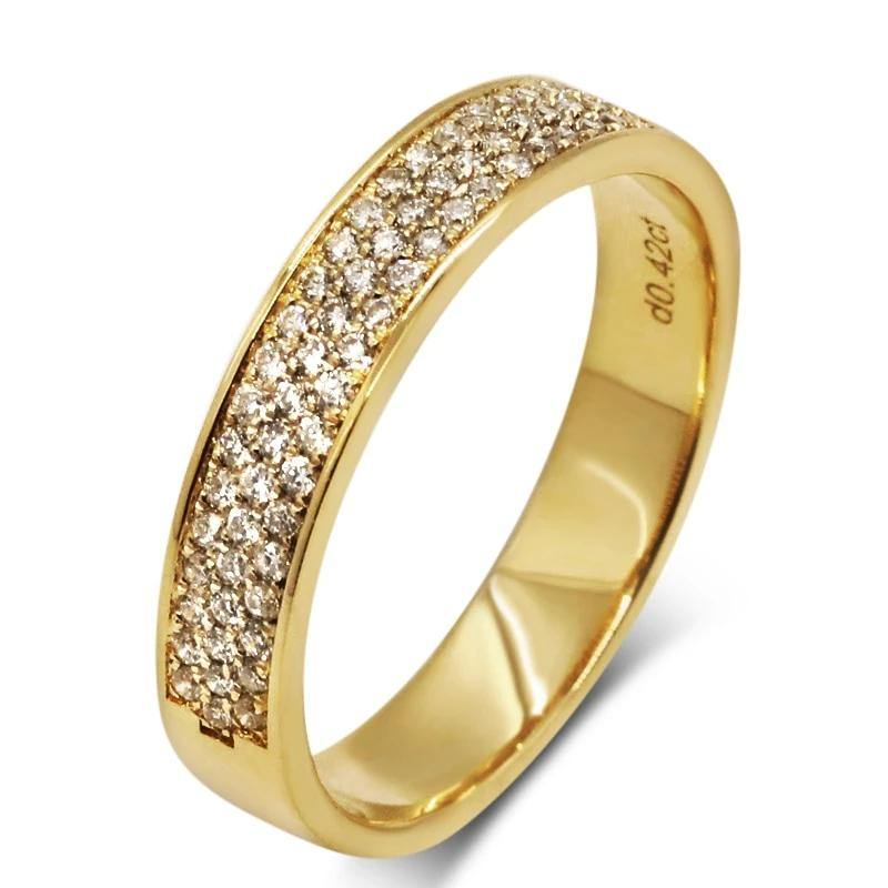 European Countess 18K Yellow Gold Ring For Couple Noble Temperament Real Diamond Wedding Stack Ring For Women Jewelry - jewelrycafee