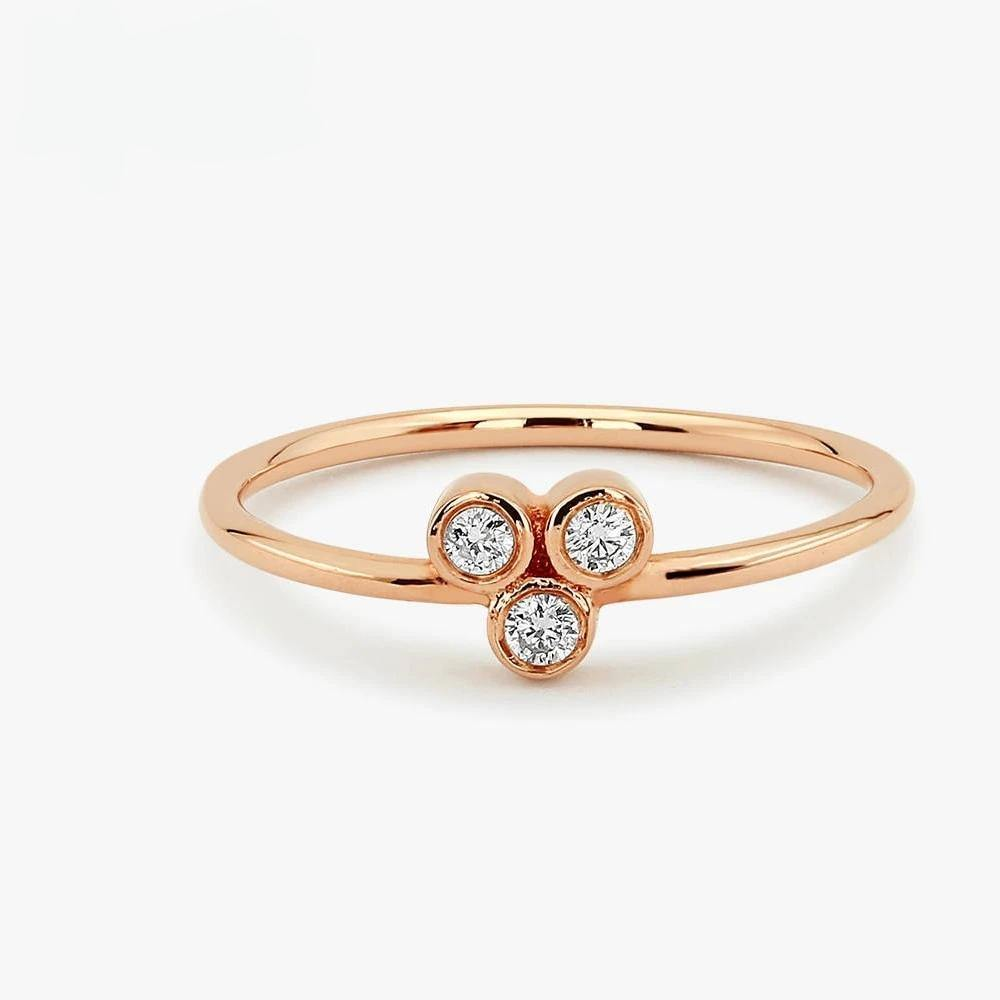 14K Rose Gold AU750 Women Wedding Ring H/I1 0.1ctw 2.0mm Real Diamond Ring 3-Stones Design Female Jewelry - jewelrycafee