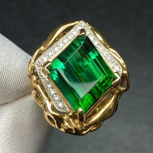 Fine Jewelry Real Pure 18 K Gold 100% Natural Green Tourmaline Gemstone 12.38ct Female Rings Brazil Origin for Women's Gift - jewelrycafee