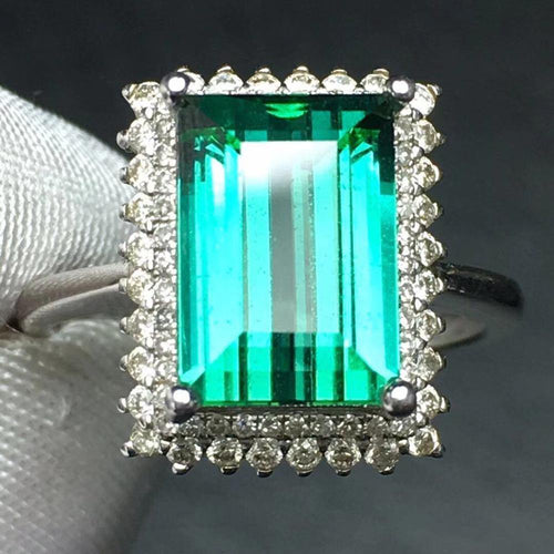 Fine Jewelry Real Pure 18 K Gold AU750 100% Natural Green Tourmaline Gemstone 5.6ct Female Rings Brazil Origin for Women's Gift