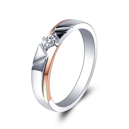 Classic Halo 0.1cttw Real Natural Diamond Rings 18k White R Gold Wedding Bands Jewelry For Women - jewelrycafee