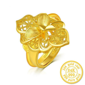 New hot Lovers' 24k pure Yellow Gold with Flower Decoration Charm&Fashion Fine Jewelry for Wedding - jewelrycafee