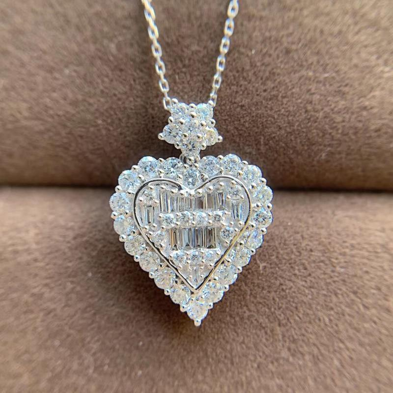 18k white gold 1.0 ct natural diamond love heart necklaces & pendants diamonds choker necklace woman jewelry - jewelrycafee