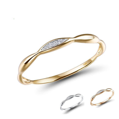 Gold Rings For Women Genuine 14K Yellow/White Gold Ring Shiny Diamond Promise Engagement Rings Anniversary Fine Jewelry - jewelrycafee