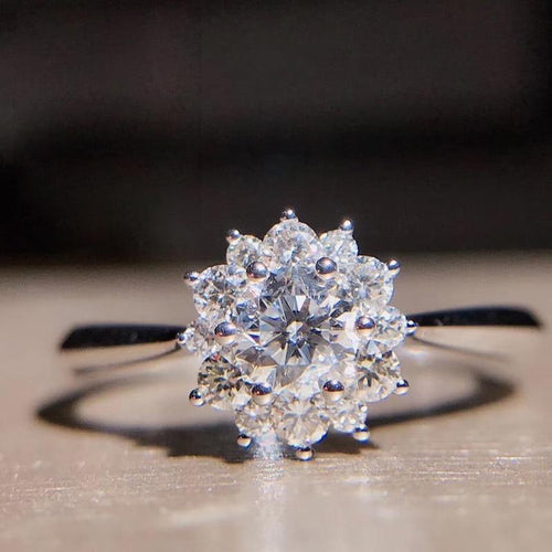 0.3Carat 4mm Round Cut Flower Engagement&Wedding Natural Real Diamond Ring Halo Ring Genuine 18K White Gold - jewelrycafee