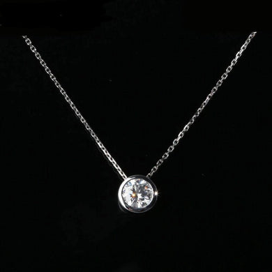 2ct DF Moissanite Bezel necklace in 14K white gold Or Sterling silver for women - jewelrycafee