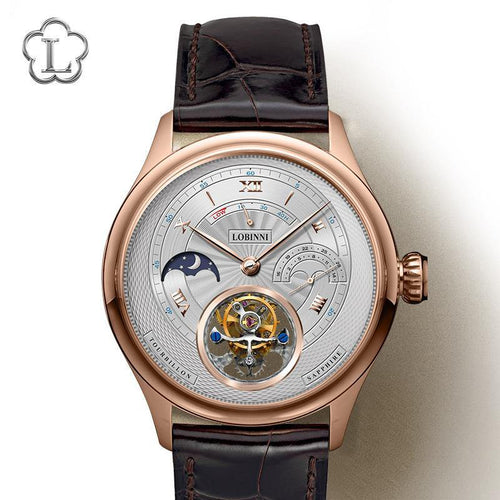 LOBINNI Switzerland Brand Tourbillon Mechanical Men Wristwatches Leather Strap Skeleton Male Watch Waterproof 50M Male clock - jewelrycafee