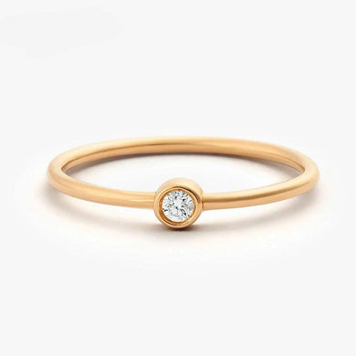 14k Rose Gold Single Diamond 2.5mm 0.05ctw Engagement Ring Simple Engagement Ring For Women Fine Jewelry Support Customized - jewelrycafee