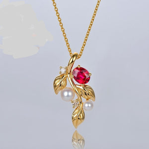 Natural Red Ruby With Pearl and Diamond Engagement 14ct Yellow Gold Pendant - jewelrycafee