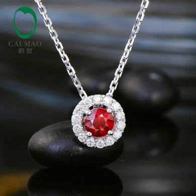 0.44ct Natural Red Ruby Pave Set Halo Diamond 14k White Gold Exquisite Pendant for Women - jewelrycafee