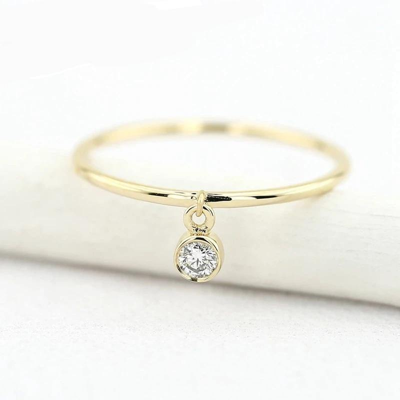 14k Yellow Gold Thin Ring with a 0.10ctw Round White Diamond Dangling Charm Ring Classic Girl gift Women Hot Selling - jewelrycafee