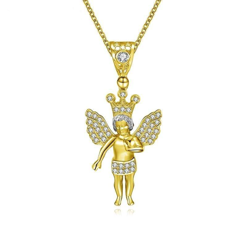 14K Solid Yellow Gold Pendant Little Angel Pendant Lab Grown Diamond Priest Christian Jewelry Cute Cupid Deity Pendant - jewelrycafee