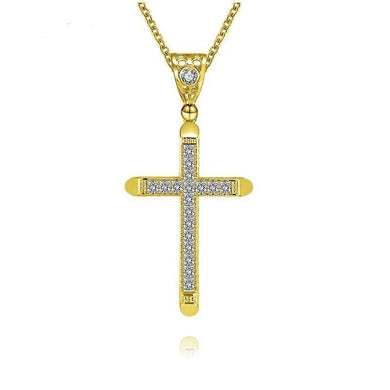 14K Solid Gold Cross Pendant Shining SONA Diamond Charm Church Jewelry Micro Setting Christian Disciple Cross Pendant - jewelrycafee