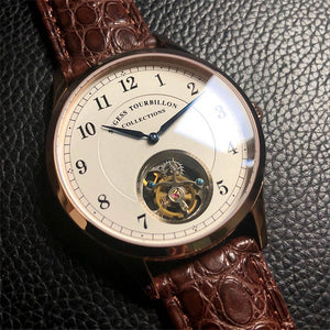 Top Brand Luxury Men's Mechanical Watches ST8000 Tourbillon Movement Dress Crocodile Genuine Leather Men Wristwatches Business - jewelrycafee