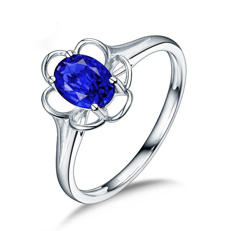 Real 14K White Gold Oval Tanzanite Ring Simple Design Flower Shape for Gemstone Jewelry - jewelrycafee