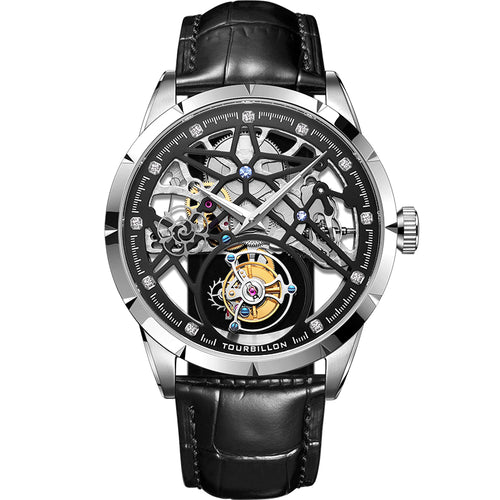 New Model GUANQIN 100% Original Tourbillon men watch top brand luxury double Skeleton Sapphire Relogio Masculino - jewelrycafee