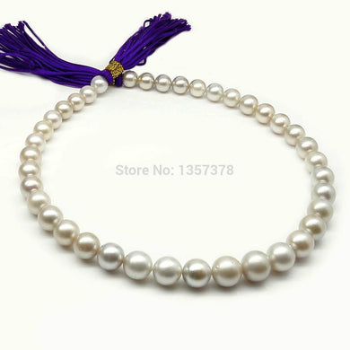 huij 002788 SILVER GRAY!ROUND 8.7-11.9MM TAHITIAN PEARL NECKLACE 16.8INCH,14K GOLD CLASP - jewelrycafee