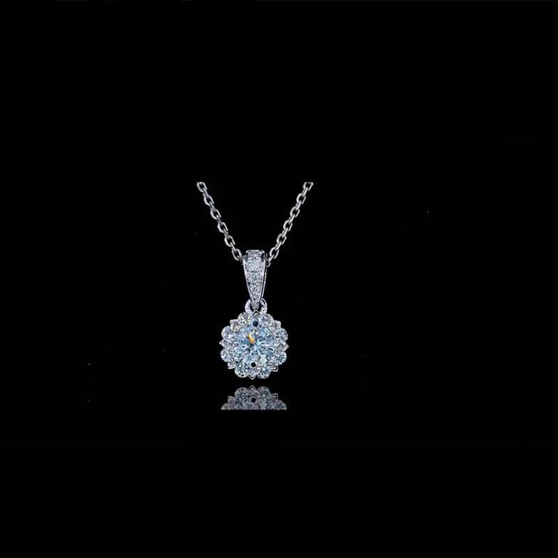 14k White Gold 0.5ct 1.0ct 2.0ct Moissanite Diamond Necklace Female Engagement & Wedding Necklace For Women Fine Jewelry Gift - jewelrycafee