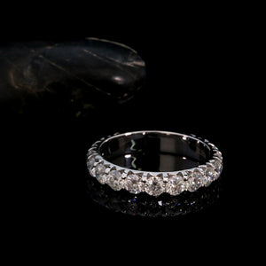 Solid 14K White Gold Round Moissanite Enternity Full Diamond Band 3mm 0.1ct 2.0ctw DF Color For Women