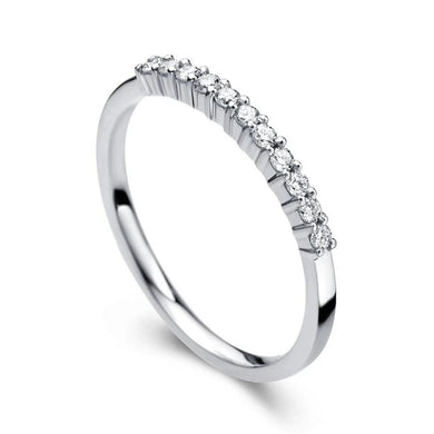 0.1ctw 11 pieces Melee Size Round Natural Diamond Engagement Wedding Matching Band 14k White Gold For Women - jewelrycafee
