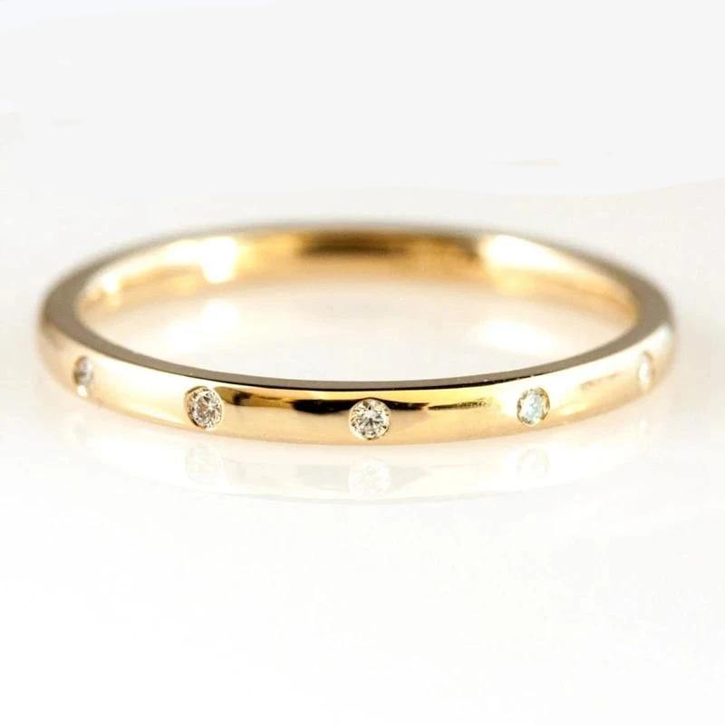 0.05ctw 1.3mm 5-Stones Style Natural Diamond Wedding Band Bezel Setting Round Diamond Band Ring 14k Yellow Gold - jewelrycafee