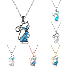 Load image into Gallery viewer, Cute Boho Female Blue White Opal Necklace 925 Sterling Silver Black Cat Necklace Big Animal Pendants Necklaces For Women - jewelrycafee
