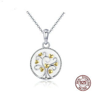 Real 925 Sterling Silver Tree of Life Pendant Necklaces Women Gold Heart Tree Necklace Sterling Silver Jewelry SCN296 - jewelrycafee