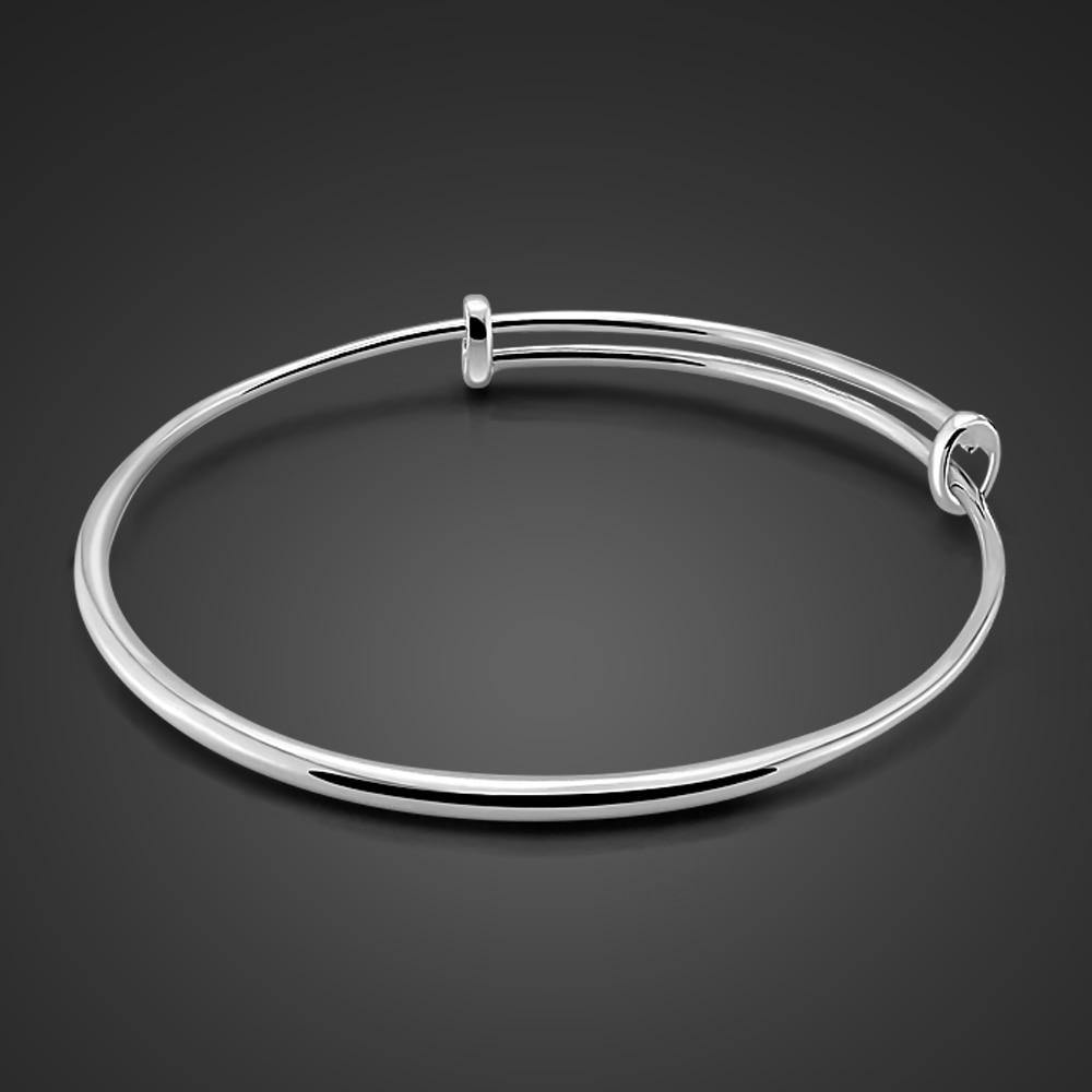 Charm Sterling silver jewelry Simple Adjustable Size Solid 925 Silver Bracelets For Girl Fashion Woman Accessorize Birthday Gift - jewelrycafee