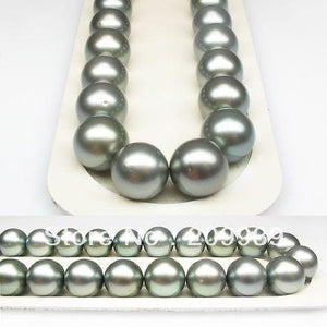 LUXURY!13~14MM ROUND GRAY TAHITIAN PEARL NECKLACE/G14k - jewelrycafee
