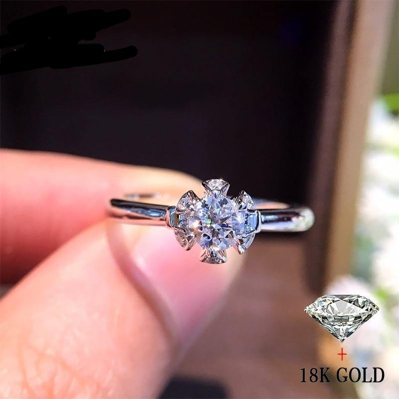 Natural Diamond 18K Gold Pure Gold Ring Beautiful Gemstone Ring Good Upscale Trendy Classic Party Fine Jewelry Hot Sell New 2020 - jewelrycafee