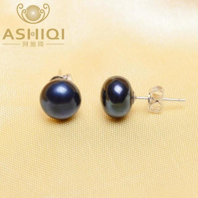 925 Sterling Silver Pearl Stud Earrings For Women Black Natural Freshwater Pearl Jewelry New Fashion - jewelrycafee