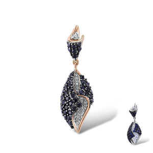 VISTOSO Gold Pendant For Women Genuine 14K 585 Rose White Gold Sparkling Diamond Blue Sapphire Delicate Wedding Fine Jewelry