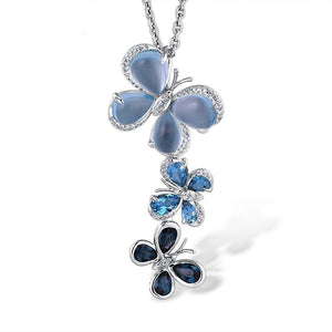 VISTOSO Authentic 14K 585 White Gold Fancy Blue Topaz Shiny Diamond Butterfly Pendant For Women Anniverary Lovely Fine Jewelry - jewelrycafee