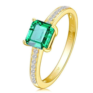 SLFD Natural Emerald 18K Pure Gold 2020 New Hot Selling Top Ring Women Heart Shape Ring  For Ladies  Woman Genuine Jewelry - jewelrycafee