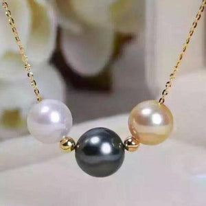 charming 11-12mm south sea multicolor pearl pendant necklace 14k - jewelrycafee