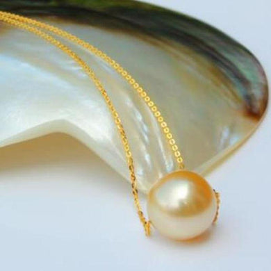 free shipping noble jewelry gorgeous round south sea 12-13mm gold pearl necklace 14k - jewelrycafee