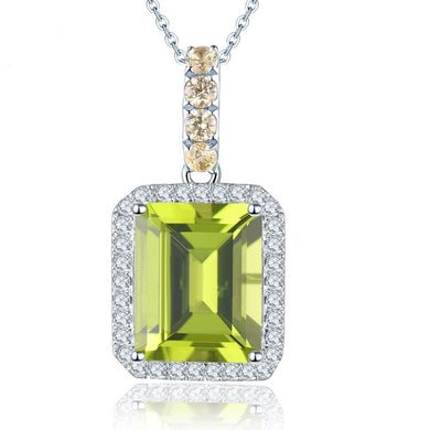 Solid 14K White Gold Natural Gemstone Peridot Yellow Sapphire DiamondPendant For August Birthday Gift Fashion W/ Silver Chain - jewelrycafee