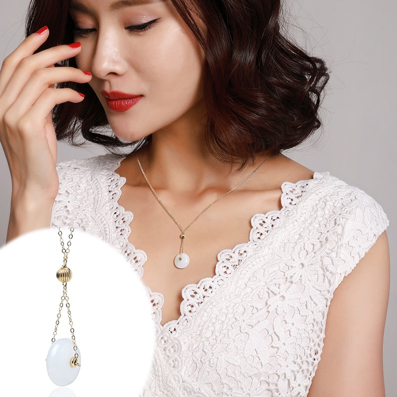 original 14K gold and white jade clavicle chain can adjust the colorless temperament of women's Pendant Necklace gifts