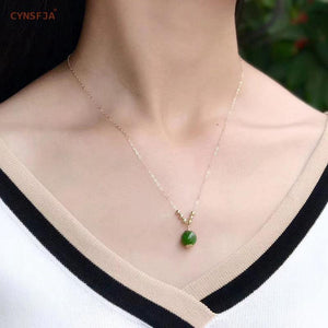 CYNSFJA New Real Certified Natural Hetian Jasper 14K Gold Handmade Amulets Lucky Green Jade Pendant High Quality Wonderful Gifts - jewelrycafee
