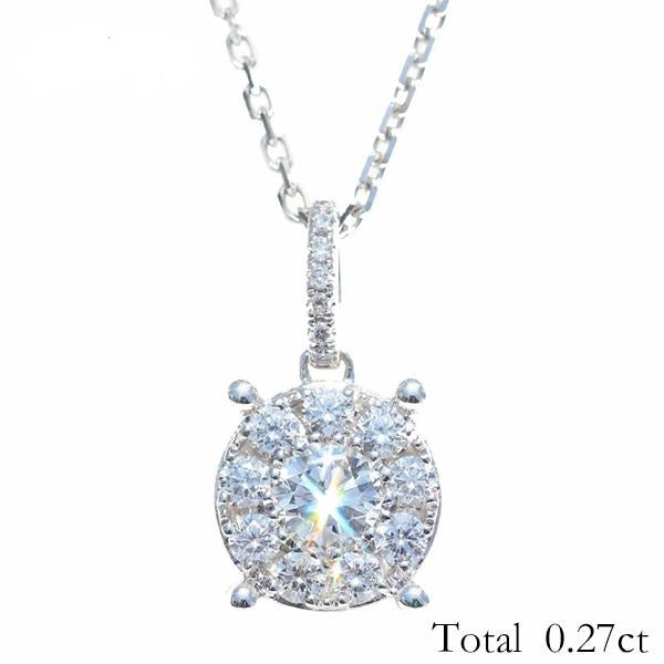Solid 14K White Gold Total 0.27ct Round cut H/SI 100% Genuine Natural Diamonds Trendy Engagement Fine Jewelry Gift Pendant - jewelrycafee