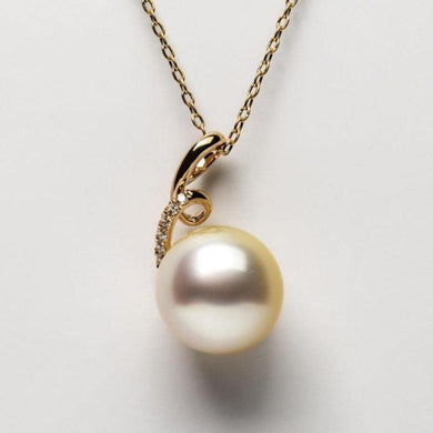 Luminous Genuine South Sea Cultured Pearl Pendant Jewelry 14k Yellow Gold 12.1mm - jewelrycafee