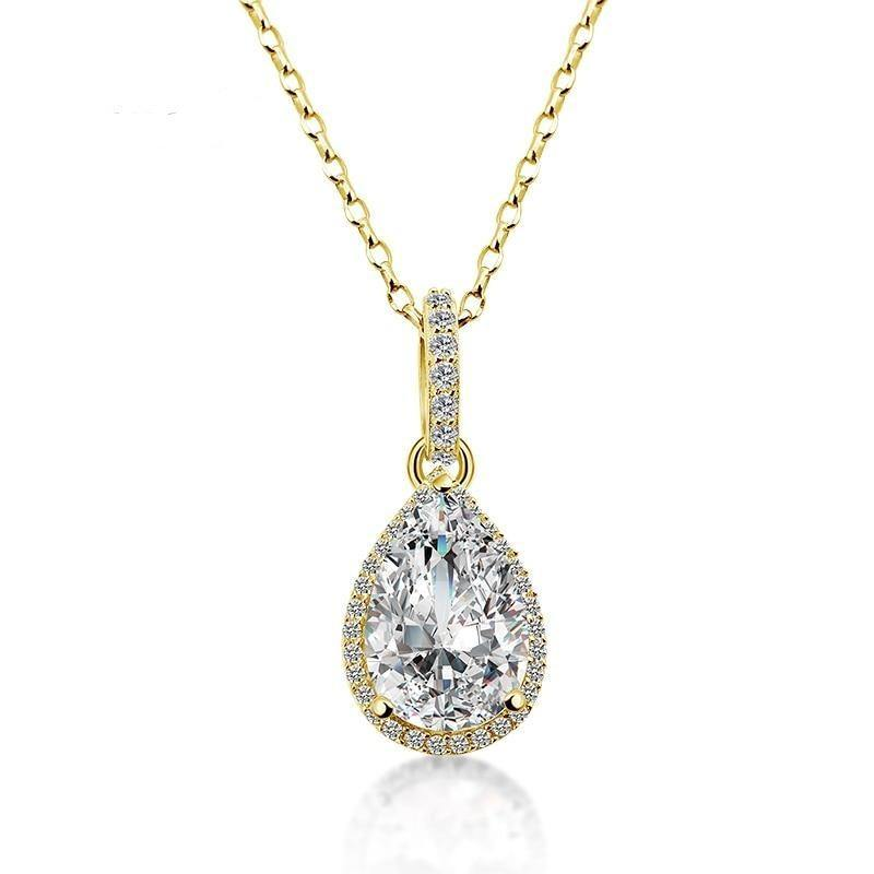 14K Solid Yellow Gold Droplet Pendant Single 3ct Pear Cut SONA Simulated Diamond Women Engagement Water Drop Pendant - jewelrycafee