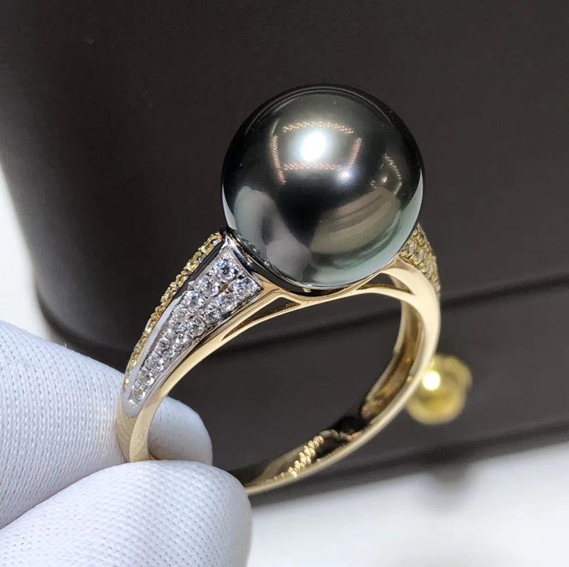 D417 Pearl Ring Fine Jewelry Solid 14K Gold Natural Round 10-11mm Ocean Sea Water Tahiti Black Pearls Rings for Women Presents
