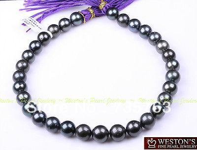 xiuli 00153 14MM NATURAL BLACK GENUINE TAHITIAN PEARL NECKLACE GOLD