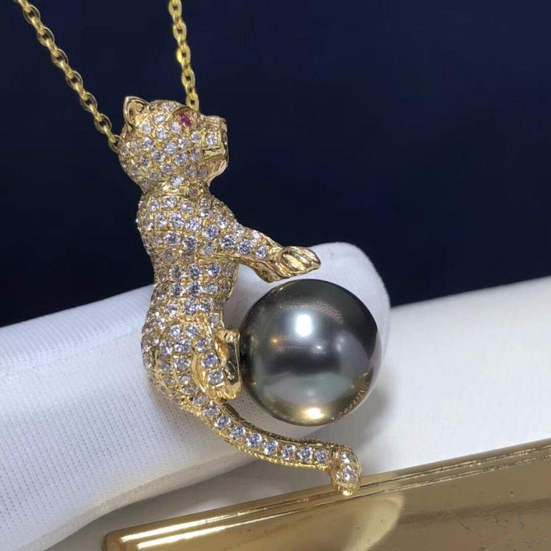 Pearl Pendant 1030 Fine Jewelry 18K Gold Natural Tahiti Black Pearl 12-11mm Pendant Necklaces for Women FIne Pearls Pendants